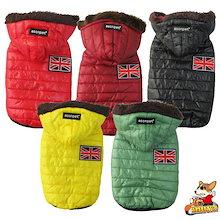 犬服 秋 冬 ダウン 風 ジャケット ユニオンジャック フード付き 小型犬 中型犬 ドッグウェア ボア