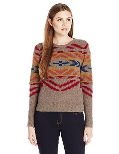 Pendleton Womens Sunset Cross Pullover Sweater, Soft Brown Tweed/Multi, Large