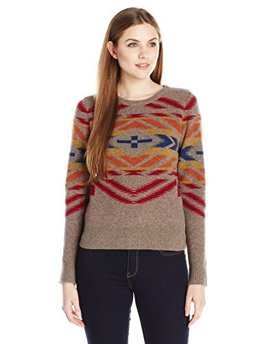 Pendleton Womens Sunset Cross Pullover Sweater, Soft Brown Tweed/Multi, Large