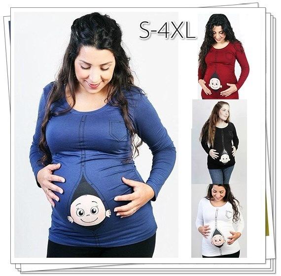 ファッションマタニティシャツを出産した妊婦のための新しいデザインカジュアルなマタニティ服