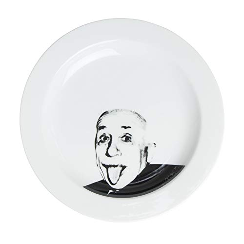 サンアート おもしろ食器 「 偉人フェイスディッシュ 」 アインシュタイン 中皿 直径23.5cm ホワイト SAN2208-2