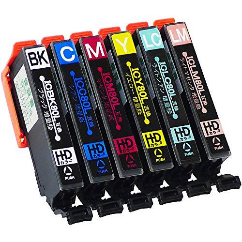 エコスロバキア エプソン用 【80L 互換インク】 大容量6色セット IC80互換 [対応機種] EP-707A / EP-708A / EP-777A / EP-807AB / EP-807AR