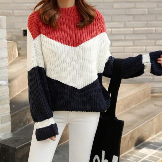 ピンクシスレーテイレ三段配色ニット ニット/セーター/タートルネック/ポーラーニット/韓国ファッション