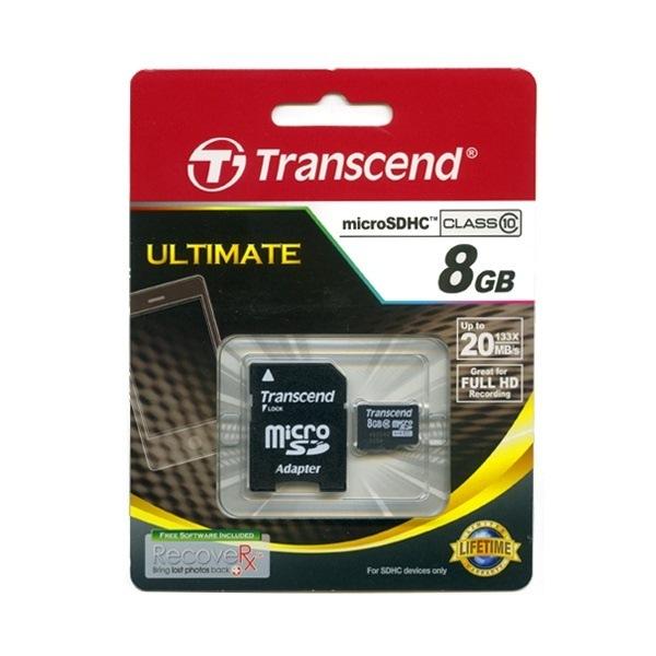 【正規国内販売代理店・ネコポス便送料無料】トランセンド[Transcend] 8GB microSDHCカード Class 10(SD 2.0)TS8GUSDHC10 (SDカードアダプター付