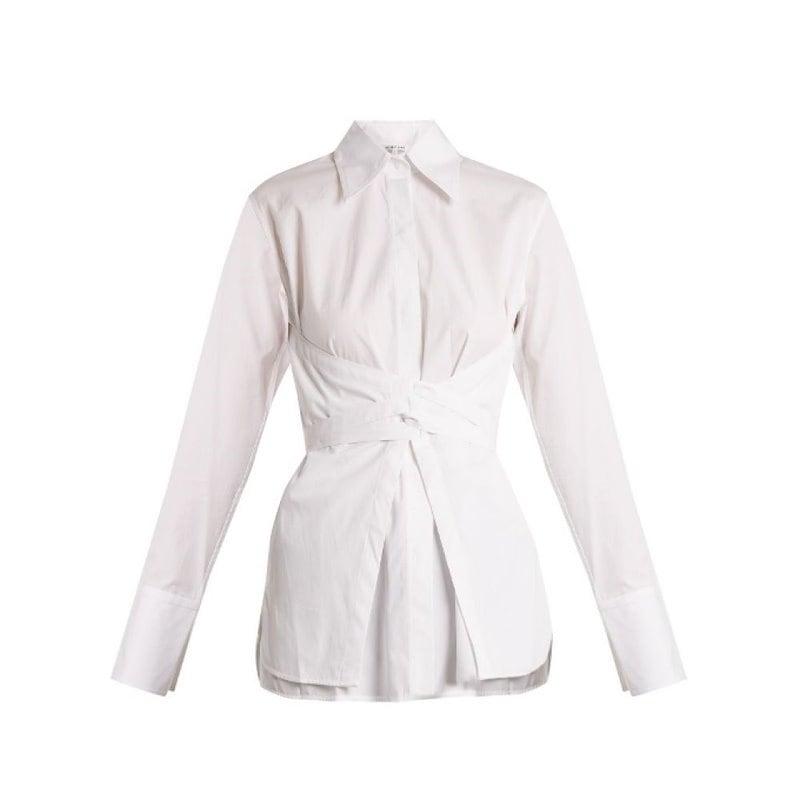 ヘルムート ラング レディース トップス ブラウス・シャツ【Corset-waist cotton-poplin shirt】White