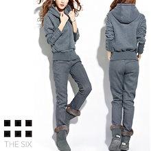 裏起毛 セットアップ グレー レディース 上下セット スポーツ パジャマ 秋冬 ファッション 韓国 ジャージ