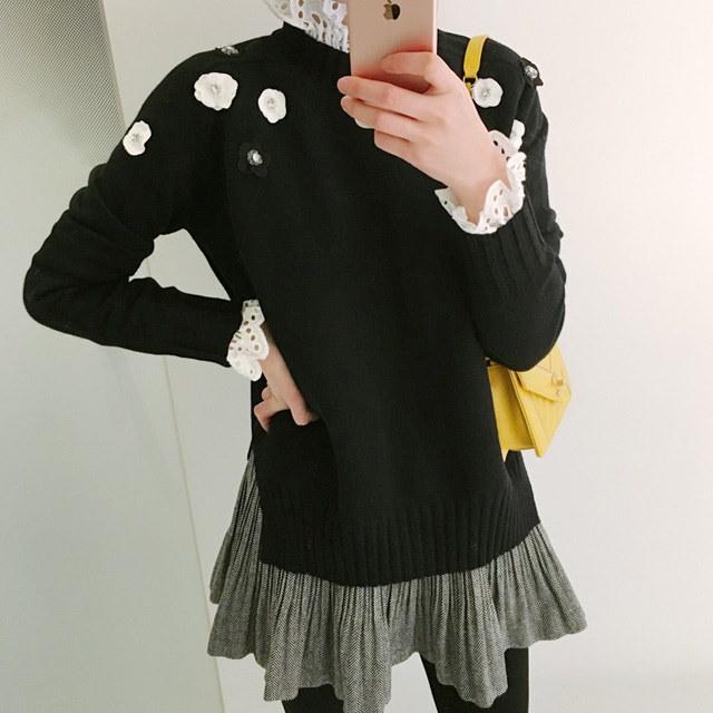 カメリアの花ニットkorean fashion style