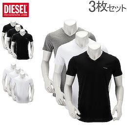 ディーゼル DIESEL Tシャツ メンズ 半袖 Vネック トップス インナー 無地 ティーシャツ 3枚セット 00SPDM 0AALW Umtee Jake V T-Shirt