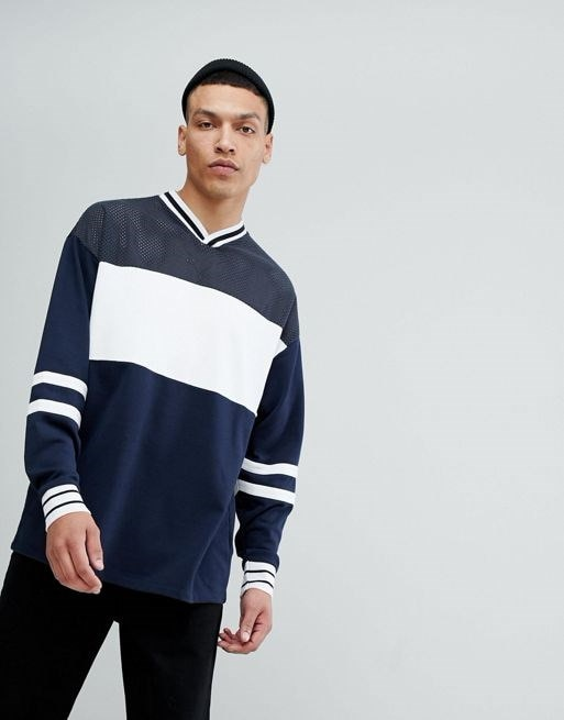 ASOS Oversized Longline V Neck Sweatshirt With Color Blocking