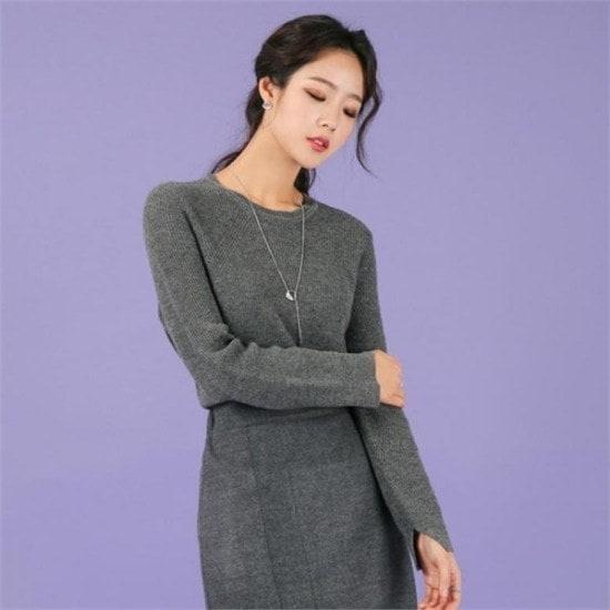 るみさん行き来するようにるみさんるみさんのカシミヤ100のフランシスコラウンドニットgray ニット/セーター/ニット/韓国ファッション