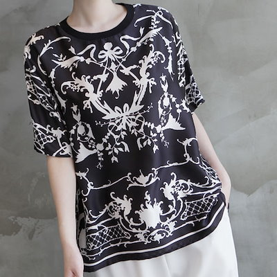 [zoozoom] [Silk 100%] Printing Loose-Fit Blouse 2color / 32598