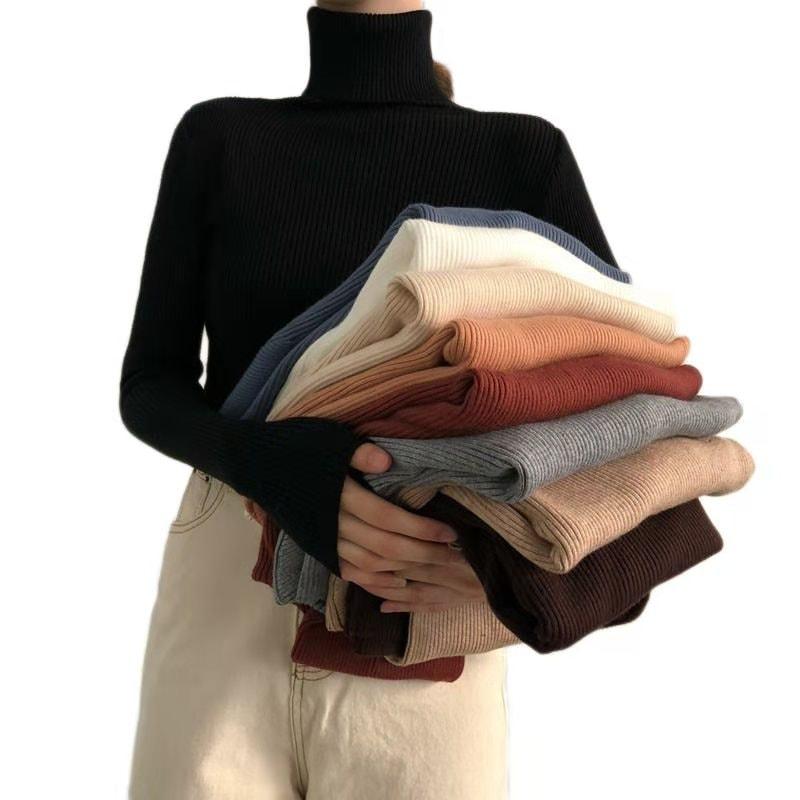[1+1送料無料]秋冬韓国の人気タートルネックセーター/長袖Vネックカバーの頭は底のシャツのニ/ 韓国ファッションワンラインネックスリムスリミングソリッドカラーボトムスセーター プルオーバ