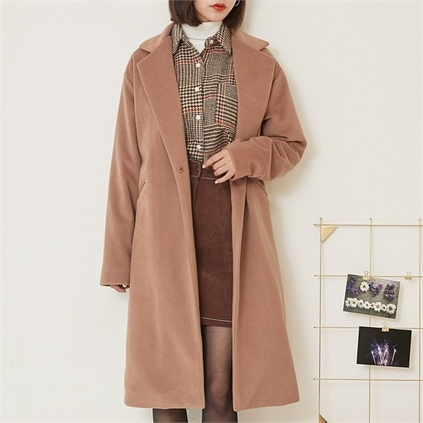 ロコ・シックスwool snap button simple coatコートnew 女性のコート/ 韓国ファッション/ジャケット/秋冬/レディース/ハーフ/ロング/