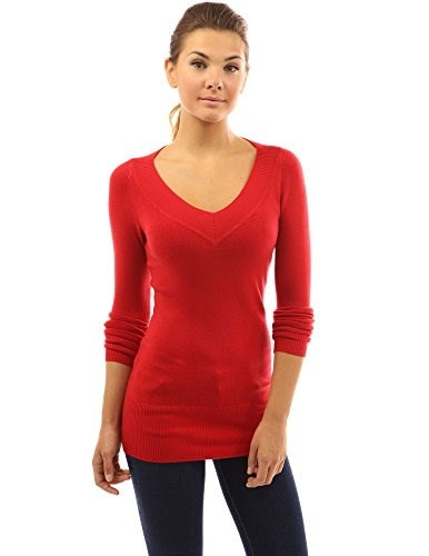 PattyBoutik Womens V Neck Long Sleeve Tunic Sweater (Bright Red S)