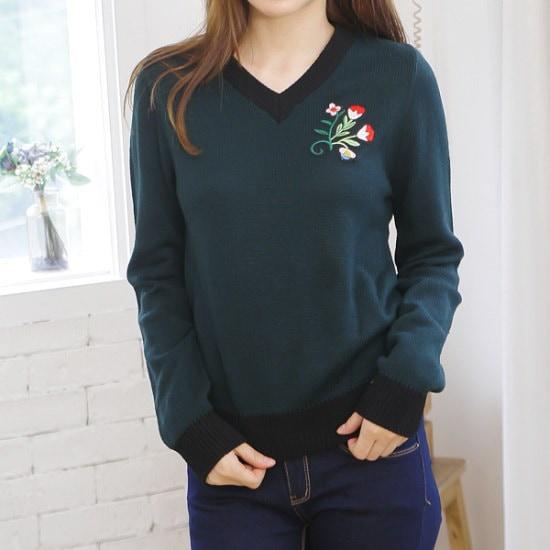 ピトンジンピトンジンYKNIT2088女フラワー自首ブイ長い腕ニットティーD ニット/セーター/ニット/韓国ファッション