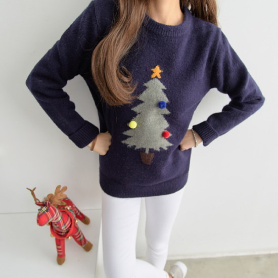 ピピングリーティングクリスマスツリーポムポム・ニット104760 ニット/セーター/ニット/韓国ファッション