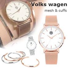[VOLKSWAGEN] 驚きの大特価/時計 メンズ メンズ ユニセックス 腕時計 ファッション腕時計ユニセックス バングル ブレス ローズゴールド シルバー  アクセサリー Classic Cuff