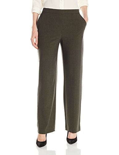 Briggs New York Womens Flat Front Straight Leg Pull On Pant, Heather Olive, 10