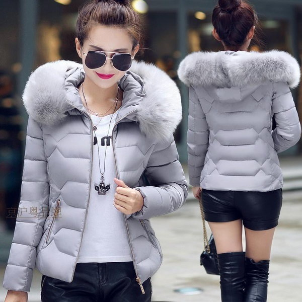 2017 Warm Winter Style Large Size Women Slim Casual Hoodie Large Fur Collar Thicker Cotton Coat BA04