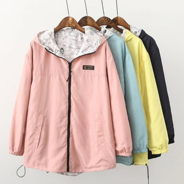 Women s Fashion Two Side Print Wear Hooded Loose Pocket Jacket Coat Outwear