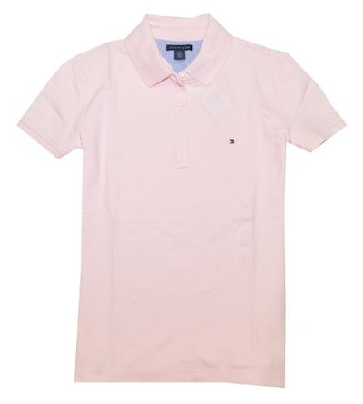 Tommy Hilfiger Women Classic Fit Logo Polo T-Shirt (M, Light pink)