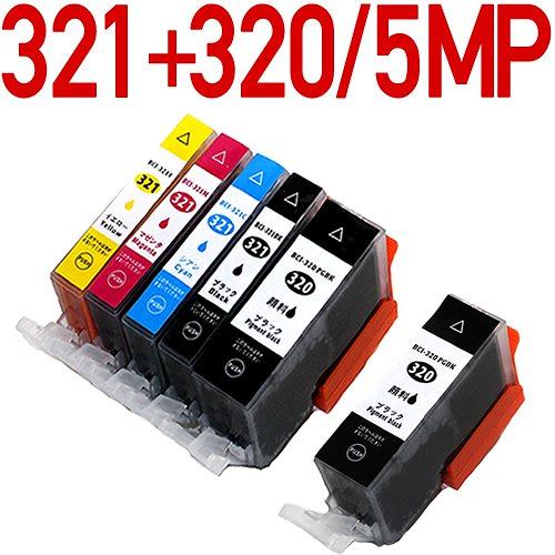 BCI-321+320/5MP+BCI-320PGBK×1個【キヤノン/Canon】対応 互換インクカートリッジ 5色パック ICチップ付き-残量表示OK BCI-321+BCI-320/5MP 5色