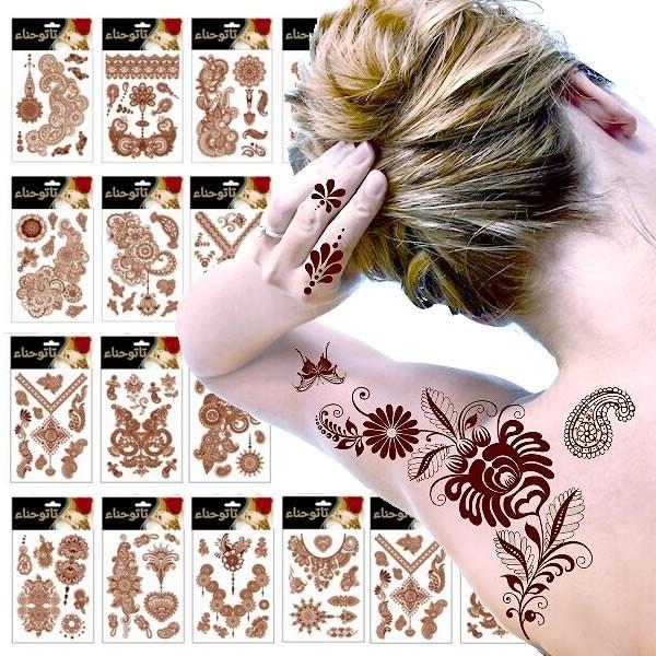 ヘナタトゥー シール腕や脚に♪ヘナ タトゥーシール フラワー 1シート ビッグサイズ tattoo 16種 レディース [国内発送]
