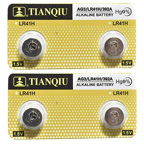 TIANQIU アルカリボタン電池 LR41 4個 (AG3 / LR41H / 392A) ブリスターパッケージ 切り分け 水銀フリー ゼロ 未使用 カメラ・ミニゲーム・体温計等に