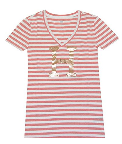 Tommy Hilfiger Women Classic Fit V-neck Big H Stripe Tee (XL, Pale red/White)