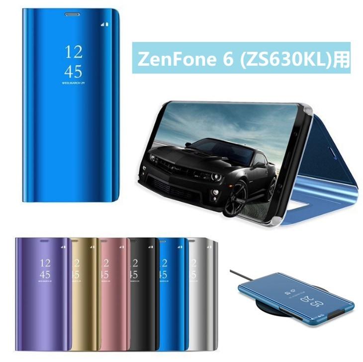 Asus ZenFone 6 (ZS630KL)用保護カバー メッキ 鏡面 液晶保護ブックカバー ワイヤレス充電対応 スタンド機能付き 手帳型 表面半透明ミラー 光沢【I920】