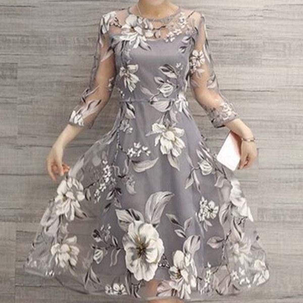 Women Fashion Long Sleeve Floral Print Dess Elegant Lace Long Dress Slim Dress Party Dress Evening D