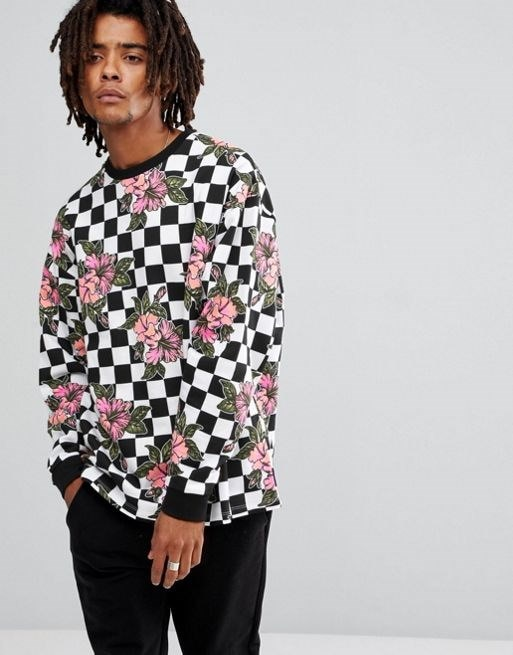 ASOS Oversized Sweatshit With Check & Floral Print