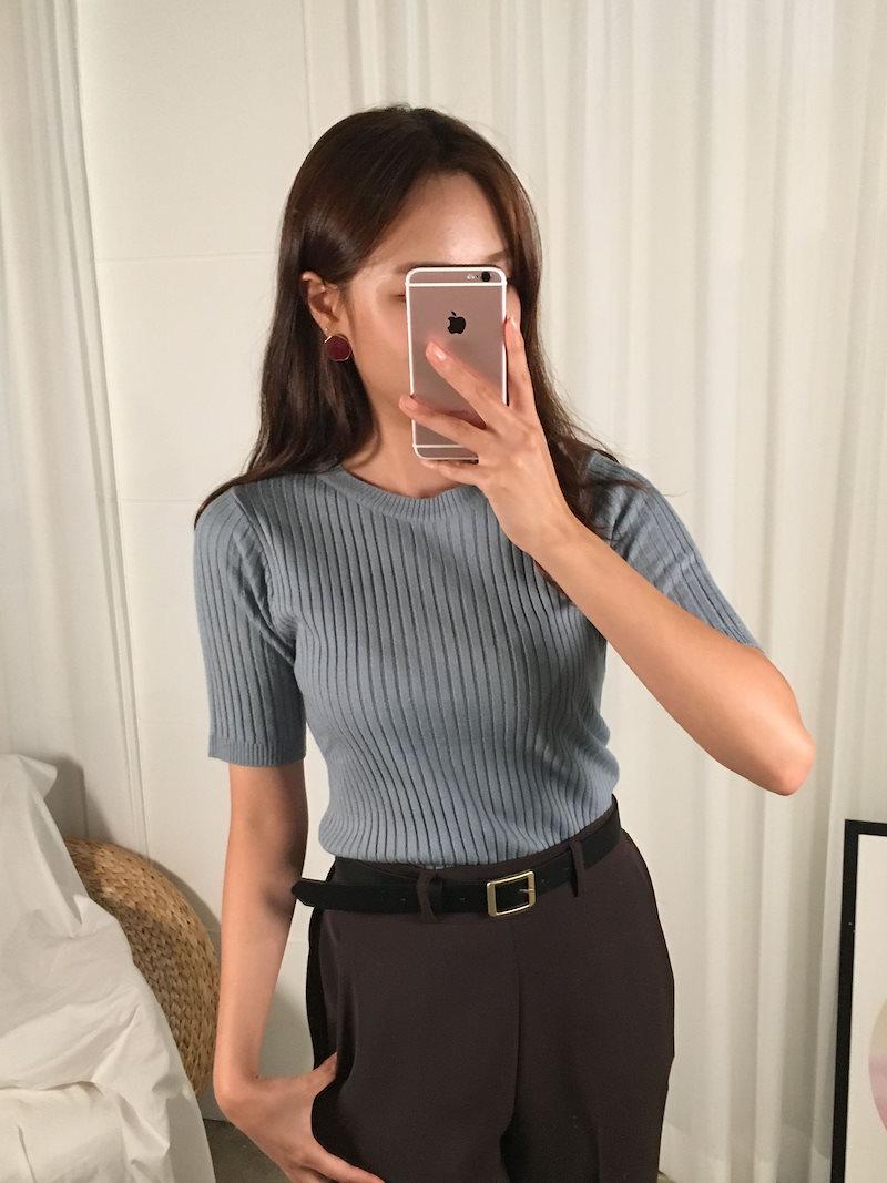 トークラウンド段ボールニットトップkorea fashion style