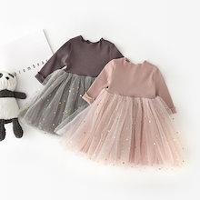 女の子の王女のドレス 、韓国の子供の五芒星、メッシュの长袖のドレス、ベビー服、子供服
