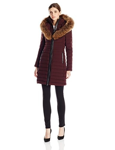 Mackage Womens Kaylina Lightweight Lux Down Coat, Bordeaux, Small