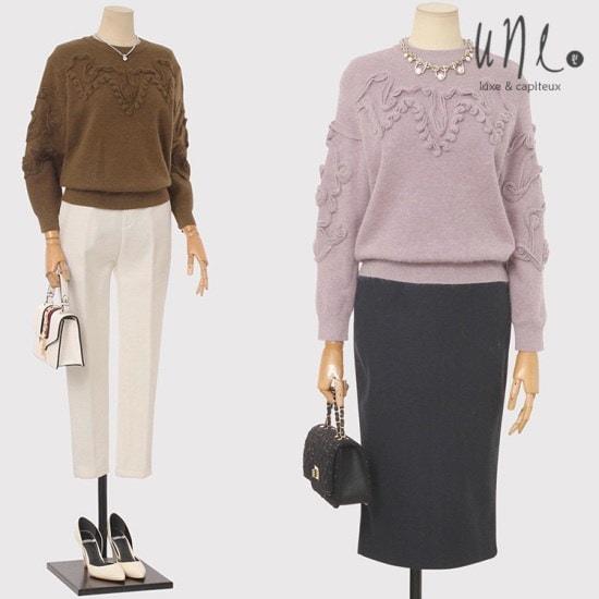 ウィンアンゴラ、ソウル混紡自首ポイントアンゴラニット ニット/セーター/ニット/韓国ファッション