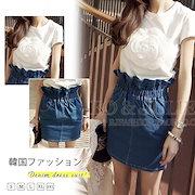 2452f5b2ca94c 柔らかいデニムスカート💓韓国ファッションの新作☆デニムスカート デニム チアガール Aライン