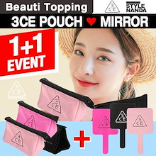 Beauti Topping]{3CE}★1+1★韓国コスメ/コスメポーチ/手鏡/pouch/Cosmetic Pouches/Make up Mirror/Mirror
