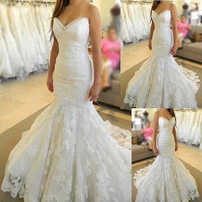 ウェディングドレス マーメイド ハートカット ビスチェライン 花嫁 二次会 花柄レース ビジュー 大きいサイズ