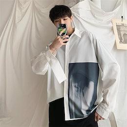 【高品質 NEW!!】韓国ファッション/CHIC気質/おしゃれな/大人気/プリント/トレンド/ゆったりする/長袖/シャツ/トップス