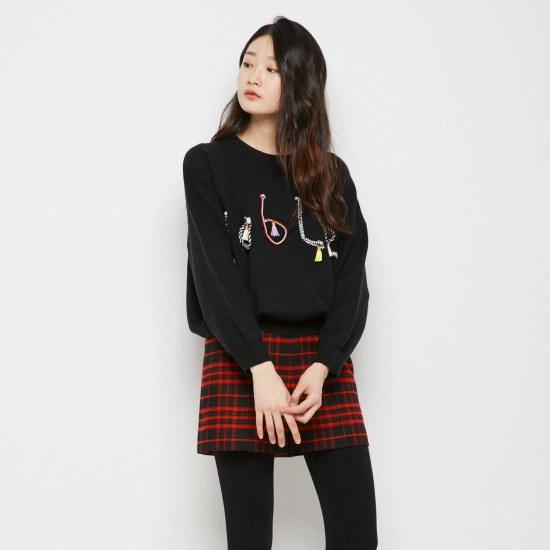 ラブLAPレタリングニットプルオーバーAH4KHW25 ニット/セーター/ニット/韓国ファッション