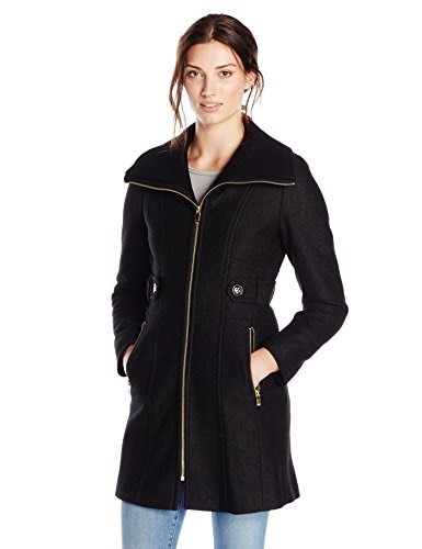 Via Spiga Womens Wool Coat with Knit Collar, Black, 14