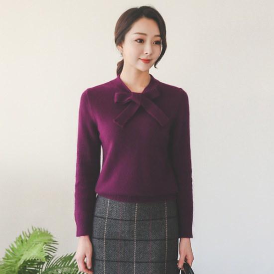 オッドTPI208ラブリーリボンタイウルニトゥ ニット/セーター/ニット/韓国ファッション