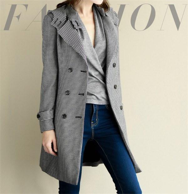 コートレディース トレンチコート ロングコート Wボタン チェック柄 ファッション 着心地よい 春新作 通勤 きれいめ春コート レディースコート