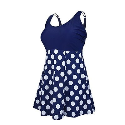 Dreaweet Women Vintage Geometric Print Plus Size Push Up One Piece Swimsuit(FBA) (5X-Large, Dark ...