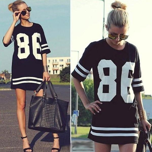 女性オーバーサイズ86 American Baseball Tee TシャツトップVarsityルーズドレス
