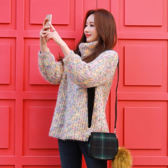 スタイルオンミラブリーポップカラーミックスポグン・ニット ニット/セーター/タートルネック/ポーラーニット/韓国ファッション