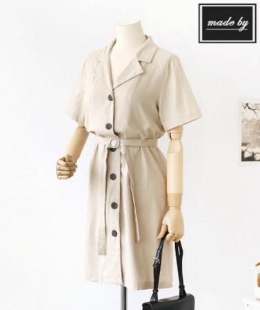 [B30299]半袖シャツ型リネンワンピースデイリールックkorea women fashion style