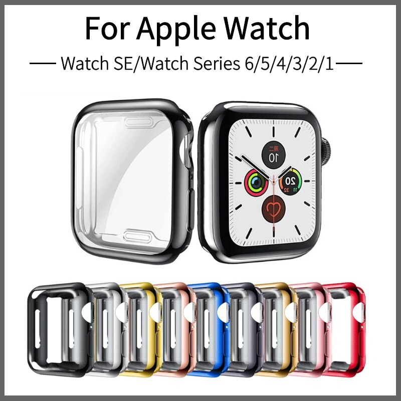 Apple Watch Series 6/5/4用Apple Watch SE用液晶まで保護フィルム式ケースカバー 40mm 44mm フルカバーソフトカバー メッキTPU保護ケース【J192】