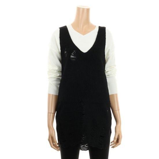 コインコーズディープVネクダメージポイントニートIY6AP6530 ニット/セーター/韓国ファッション